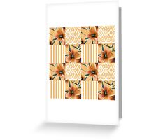 Patchwork seamless floral orange lilly pattern texture background with stripes Greeting Card
