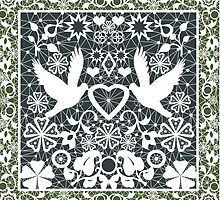 White lace pattern with pigeons on green by fuzzyfox