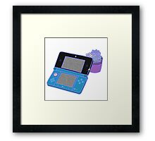 Nintendo DS and succulents - blue Framed Print