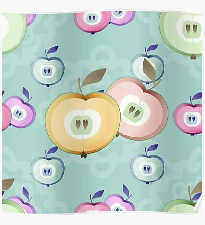 Apple seamless pattern fruits texture Poster