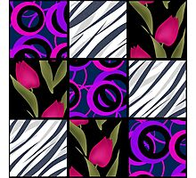 Patchwork seamless floral pattern texture background with tulips Photographic Print