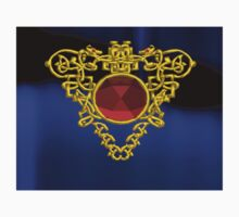 GOLD CELTIC HEART WITH RED RUBY GEMS One Piece - Short Sleeve
