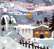 Retro christmas patchwork design nature winter picture by fuzzyfox