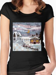 Retro christmas patchwork design nature winter picture Women's Fitted Scoop T-Shirt