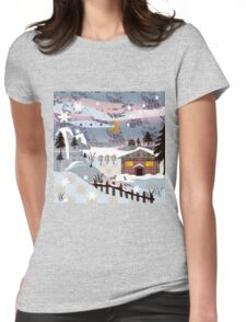 Retro christmas patchwork design nature winter picture Womens Fitted T-Shirt