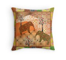 Pattern with elephants patchwork elements brown african Throw Pillow