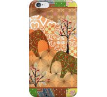 Pattern with elephants patchwork elements brown african iPhone Case/Skin