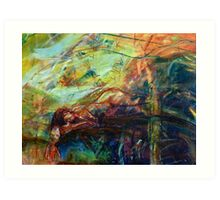 Bliss Lady sleeps in the forest Art Print