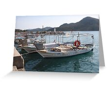 Turkish Fishing Boats Moored at Bozburun Greeting Card