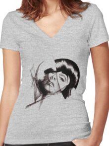 retro girl Women's Fitted V-Neck T-Shirt