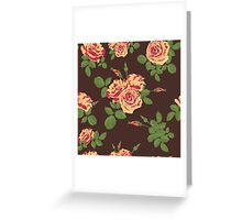 Flowers of splash roses pattern brown Greeting Card