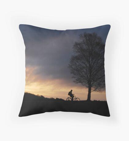 Again a morning cyclist on the heath at Hilversum Throw Pillow