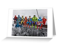 Superheroes on Girder Greeting Card
