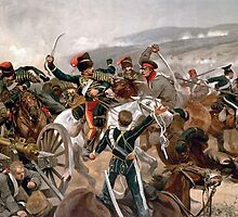 British cavalry charging against Russian forces at Balaclava in 1854 - Relief of the Light Brigade by Adam Asar