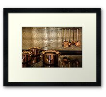 golden luxury kitchen cookware Framed Print