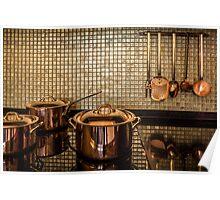 golden luxury kitchen cookware Poster