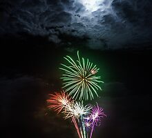 Full Moon Fireworks by Silken Photography