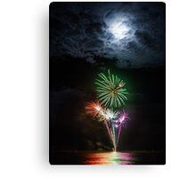 Full Moon Fireworks Canvas Print