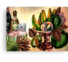 A still life of fruits and drinks Canvas Print