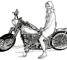 Lady on a bike by Grant Forbes