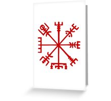 Blood Red Vegvísir (Viking Compass) Greeting Card
