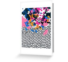 Kenzi - Flowers with Dots - Floral Abstract, graphic design print pattern Greeting Card