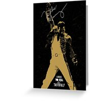 Rock music golden poster on black background Greeting Card