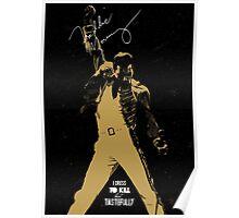Rock music golden poster on black background Poster
