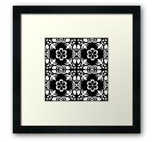 Ornamental seamless pattern damask arabesque white elements texture black Framed Print