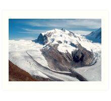Glaciers above Zermatt, Switzerland. Art Print