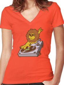 lion dj dub style cartoon Women's Fitted V-Neck T-Shirt