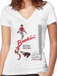 Breakin' Retro  Women's Fitted V-Neck T-Shirt