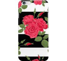 Seamless flower red roses pattern with horizontal stripes iPhone Case/Skin