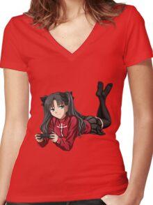 Tohsaka Rin Women's Fitted V-Neck T-Shirt
