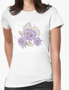 Bouquet branch of purple flowers on white T-Shirt