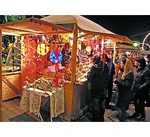 Christmas market stall, Perugia, Italy Photographic Print