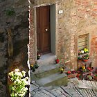 Steep street & front door, Passignano sul Trasimeno, Umbria, Italy by Philip Mitchell