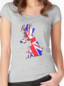 British flag and outline Women's Fitted Scoop T-Shirt