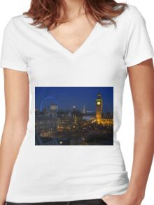 London eye and Big Ben by night, London, England Women's Fitted V-Neck T-Shirt