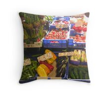 Greengrocer's stall, the covered market, Perugia, Italy Throw Pillow
