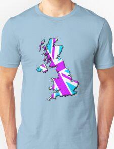British flag and outline (Pink & Blue) Unisex T-Shirt