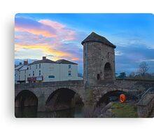 Monnow bridge, Monmouth, Wales, at sunset Canvas Print