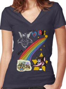 The Dark Side of the Fox Women's Fitted V-Neck T-Shirt