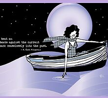 1920s Gatsby Flapper Girl Sea Boat Quote by CecelyBloom