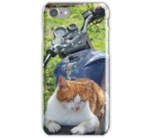 Ginger and White Tabby Cat Sunbathing on A Motorcycle iPhone Case/Skin