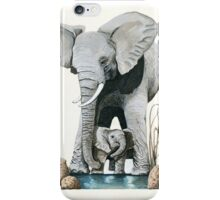Elephants - original wildlife illustration for Healing the Planet iPhone Case/Skin