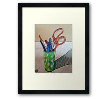 still life with scissors Framed Print
