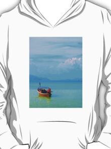 boat in peaceful sea and blue sky T-Shirt