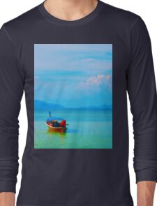 boat in peaceful sea and blue sky Long Sleeve T-Shirt
