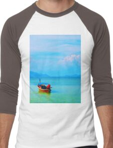 boat in peaceful sea and blue sky Men's Baseball ¾ T-Shirt